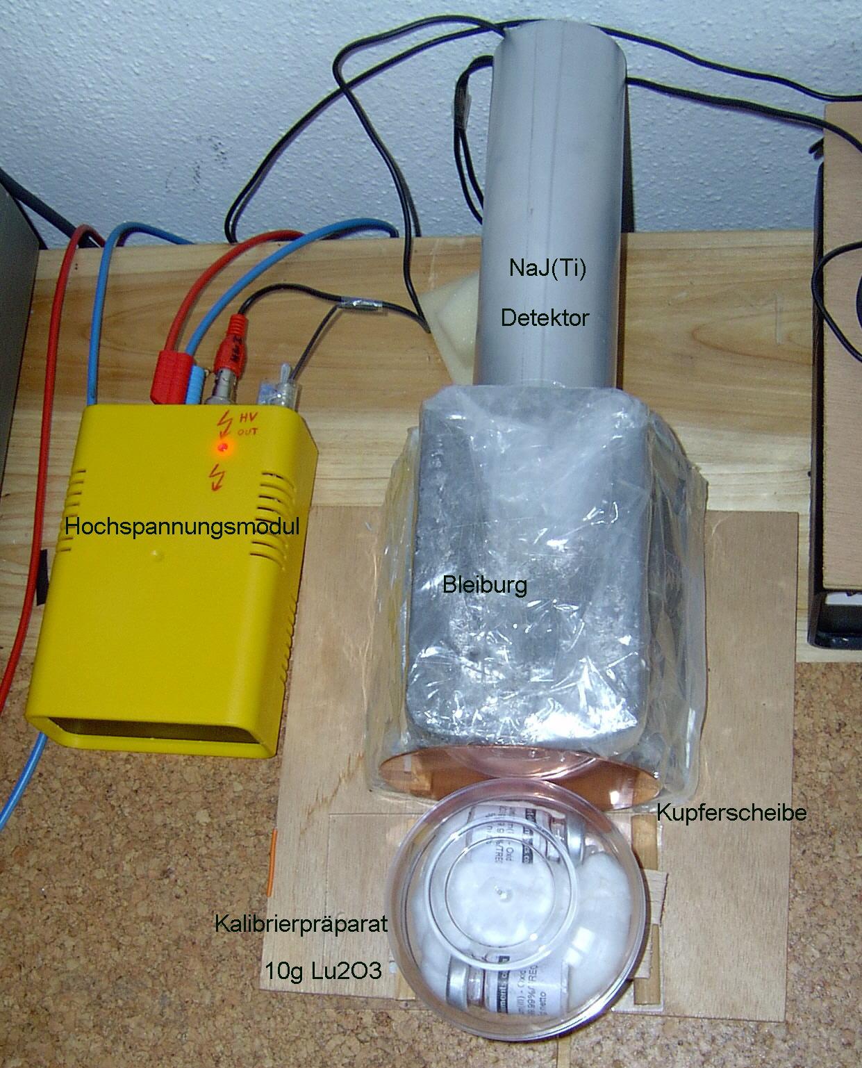 Beispiel für einen liegenden Messaufbau Gamma-Spektrometer Eigenbau mit NaJ(Ti) Detektor