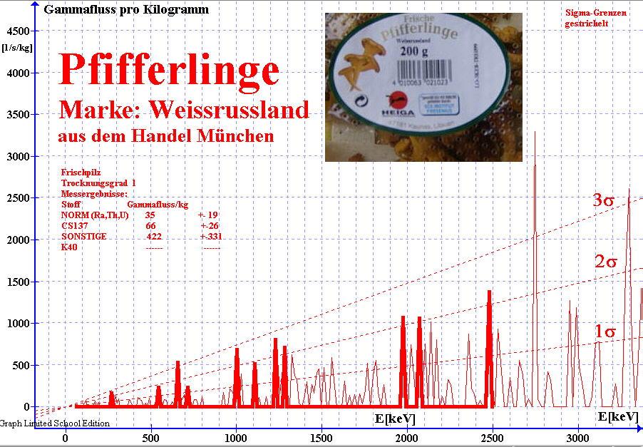 Gammaspektrum von frischen Pfifferlingen aus dem Handel München ; Marke Weissrussland ; gemessen mit NaI(Ti) Detektor
