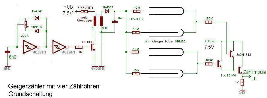 Geigerzähler mit 4 Zählröhren (Grundschaltung für YBMM04)